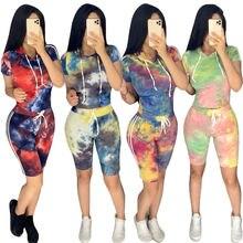 Женский спортивный костюм tie dye летний комплект из двух предметов