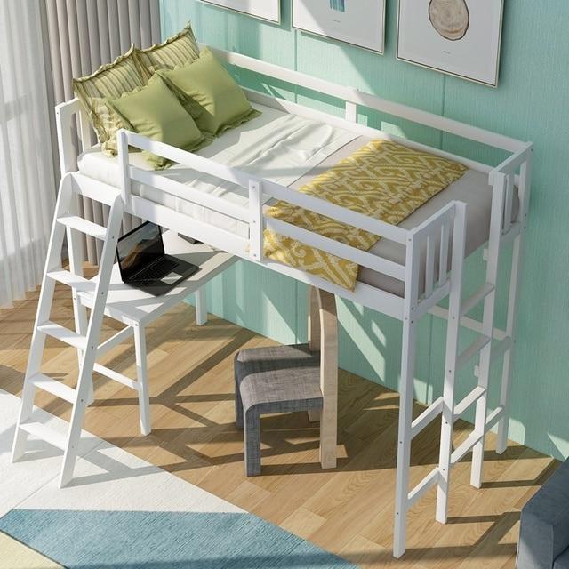 Solid Wooden Twin Loft Bed w/Desk & Ladder 4