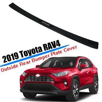 High Quality  Black Titanium Car Rear Bumper Sill Guard Protector Trim Cover Sticker Plate for Toyota RAV4 2019 2020