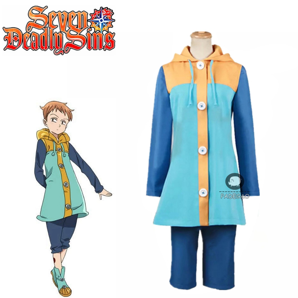 The Seven Deadly Sins King Cosplay Costume green /& orange