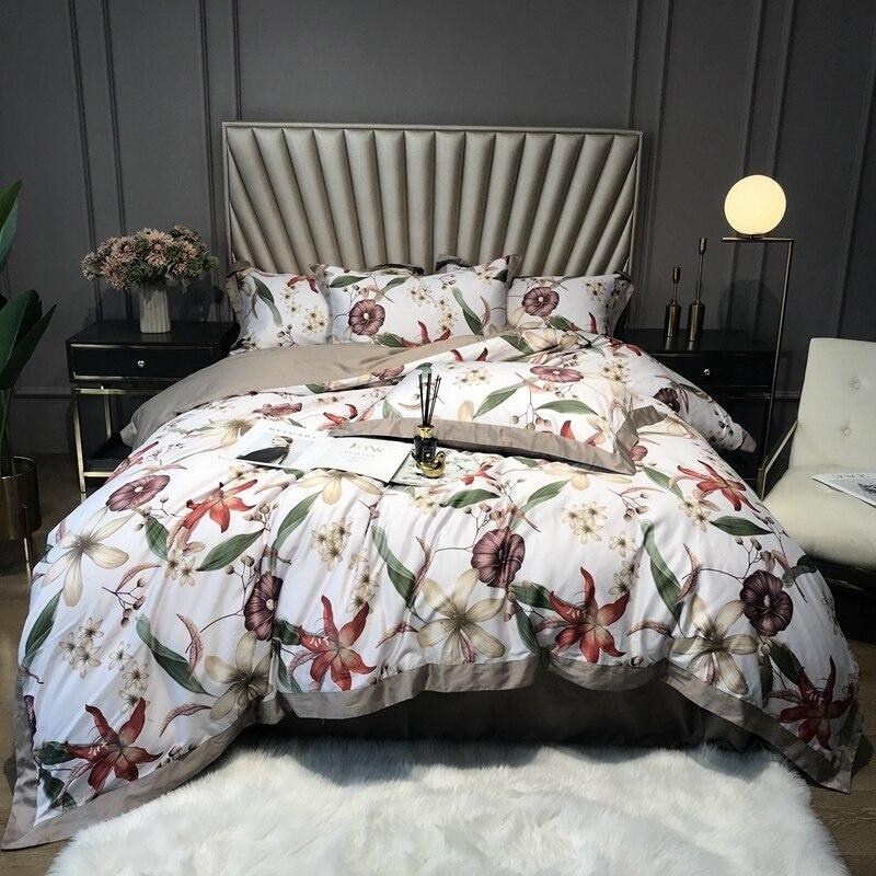 Green Botanical Plant Leaves Duvet Quilt Cover Pillow Shams 4Pcs Queen King Size Egyptian Cotton Bedding Set Flat Bed Sheet Set