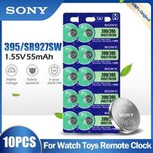 10 adet orijinal Sony 395 399 AG7 SR927SW SR927W SR927 LR927 LR927W 1.55V gümüş oksit pil için izle oyuncaklar uzaktan düğme