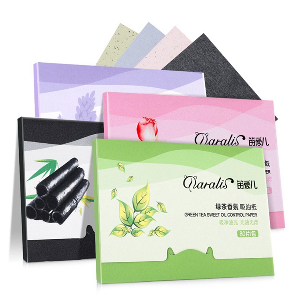1Pack=80pcs Protable Facial Absorbent Paper Oil Control Wipes Green Tea Absorbing Sheet Matcha Oily Facial Cleaning Makeup Tools