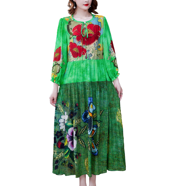 ZUOMAN 5XL Plus Size Loose Mulberry Silk Maxi Sundress 2021 Summer Casual Floral Boho Beach Midi Dresses Elegant Bodycon Party 4
