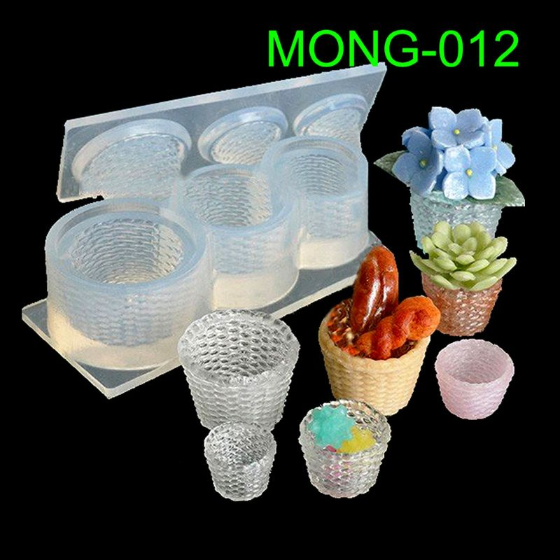 Cute Mini Size Straw Basket Silicone Mold Epoxy Resin Molds Jewelry Making Tools