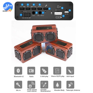 Image 2 - Portable Wooden Wireless Bluetooth Speaker Retro Stereo Subwoofer HiFi FM Radio USB TF AUX for Outdoor Home Desktop Speaker