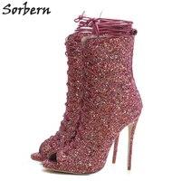 Sorbern Open Toe Glitter Ankle Boots For Women Stilettos High Heels Sequins Short Ladies Booties Office Lady Work Boots Custom