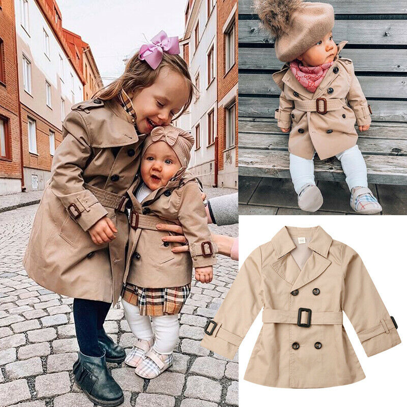 2-7TToddler Jacket Baby Jacket Girls Trench Girls Jacket Windbreaker Outerwear Winter Clothes Family Matching Big Sister