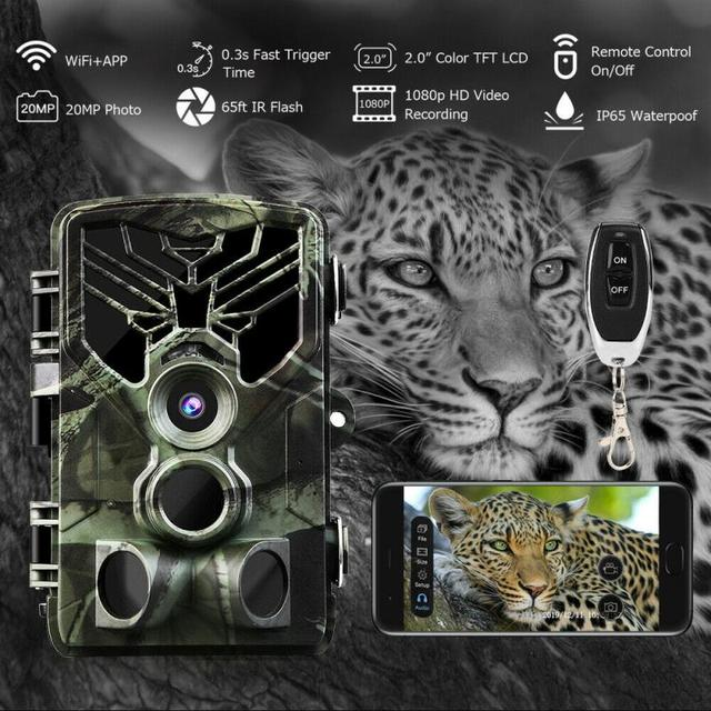 2020 New Hunting Camera 20MP Wireless Wifi APP  Traps Waterproof Night Vision Wildlife Infrared Trail  1080P APP Remote