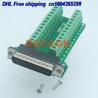Tüketici Elektroniği'ten Pil Aksesuarları ve Şarj Aksesuarları'de DHL 50 adet DB25 D SUB erkek fiş 25 pin port 2 satır Terminali breakout PCB vidalı konnektör 22db