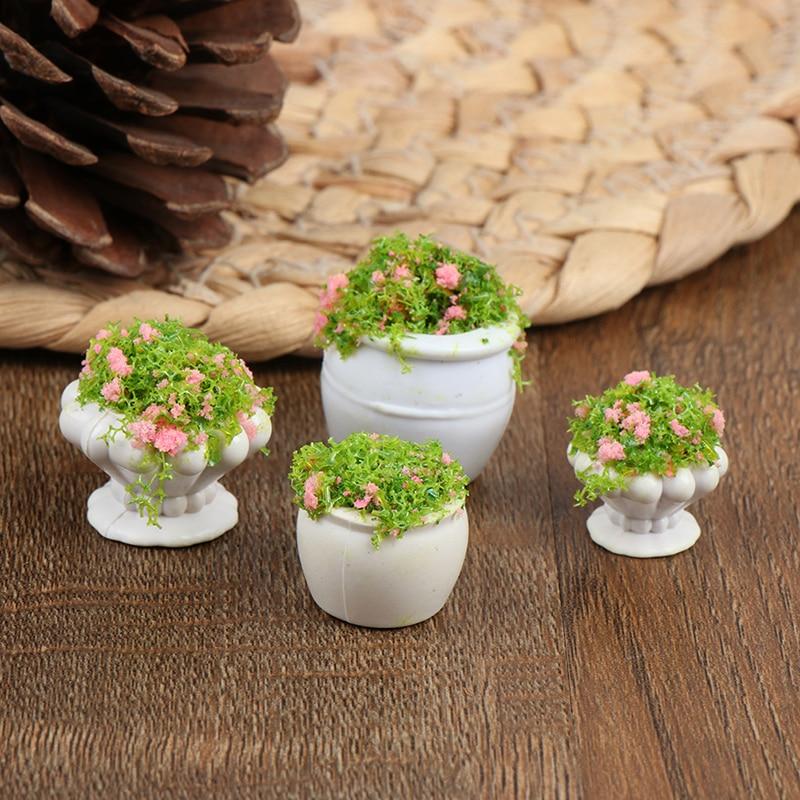 YARDWE 4pcs Dollhouse Flower Pots Mini Green Plant Bonsai Flower Pots Miniature Dollhouse Kit DIY Furniture Decoration Garden Accessory Random Style