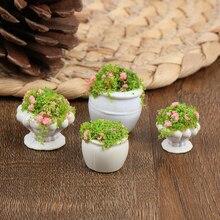 2pcs Dollhouse Furniture 1:12 Accessories Mini Green Plant Bonsai Flower Pots