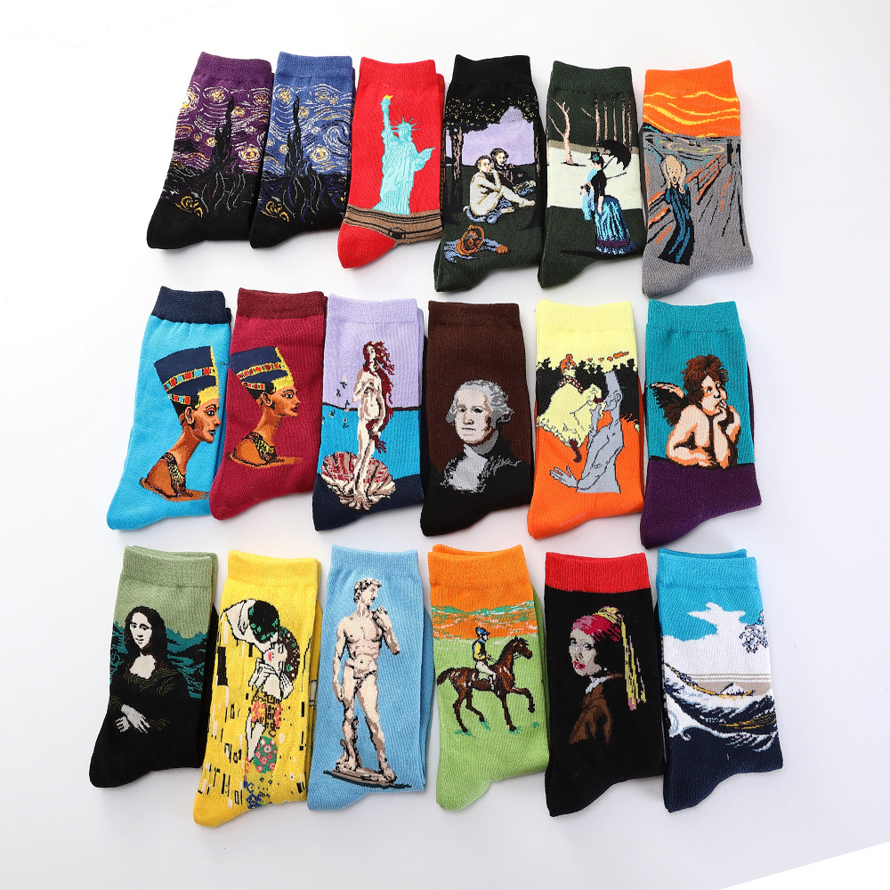 Hot Drop Shipping Autumn Winter Retro Women New Art Van Gogh Mural World Famous Oil Painting Series Female Socks Funny Socks
