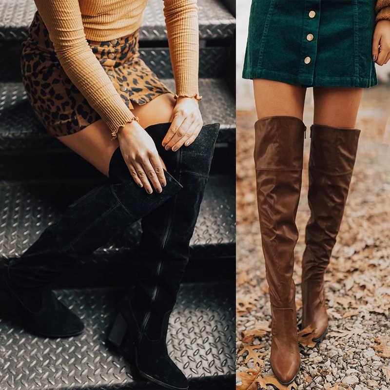 PUIMENTIUA Faux Suede Slim รองเท้าเซ็กซี่เข่าสูงผู้หญิงแฟชั่นฤดูหนาวต้นขาสูงรองเท้าผู้หญิงรองเท้าแฟชั่น Botas mujer