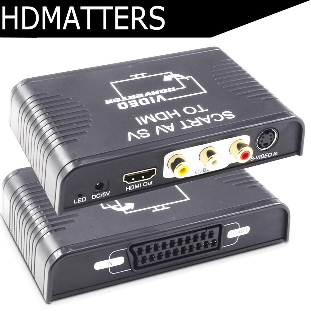 Hdmatters s-vídeo composto av scart para hdmi conversor switcher s-vídeo + rca + scart para hdmi para fora