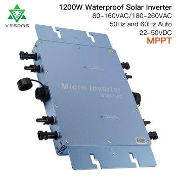 цена на 1200W Waterproof IP65 Solar Grid Tie Micro Inverter WVC1200 Microinverter Inversor 110V 220V AC For 36V Home  Solar PV Panel