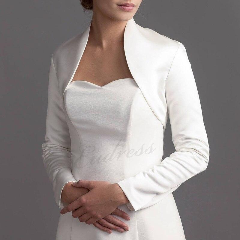 Blanc à manches longues court châle femmes châle enveloppes veste haussement d'épaules Satin soirée mariage Cape boléro couvrir