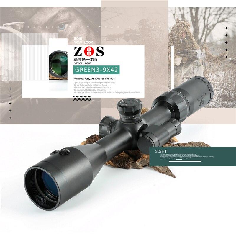 ZOS 3-9X42 EG Hunting Airsofts Riflescope Tactical Air Gun  Green Dot Laser Sight Scope Holographic Optics Rifle Scope Oхота