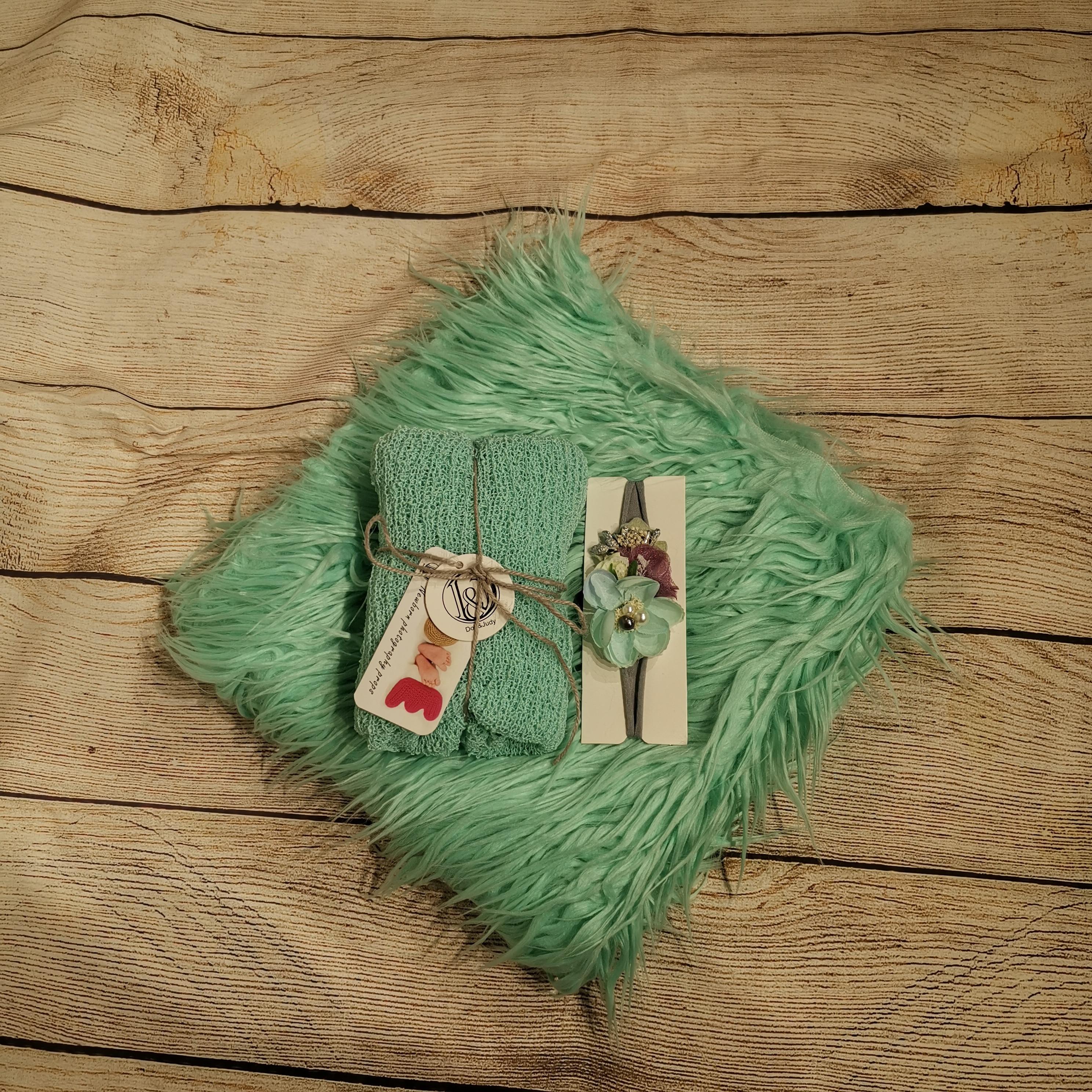75*50cm Soft Long Pile Faux Fur MONGOLIAN FUR Blanket +140*30cm Stretch Knit Wrap +matched Cotton headband for Newborn Shooting