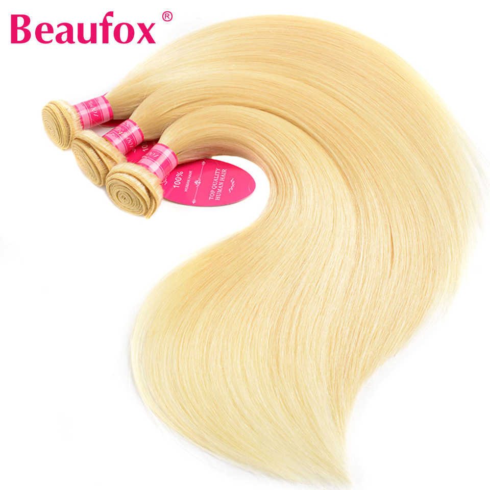 Beaufox 613 Bundles With Frontal Peruvian Straight Hair Bundles With Frontal 613 Human Hair Blonde Bundles With Frontal Remy