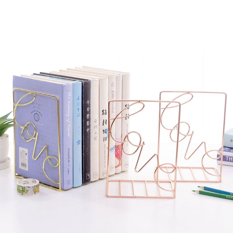 2Pcs/Pair Creative Love Shaped Metal Bookends Desk Storage Holder Shelf Book Organizer Stand