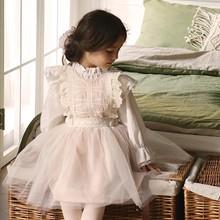 Осенняя рубашка для девочек Удобная хлопковая рубашка с эластичным воротником и длинными рукавами для девочек