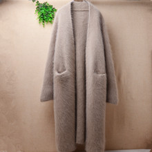 ladies women fashion hairy long mink cashmere knitted loose cardigans mantle angora rabbit hair winter jacket coat sweater pull(China)