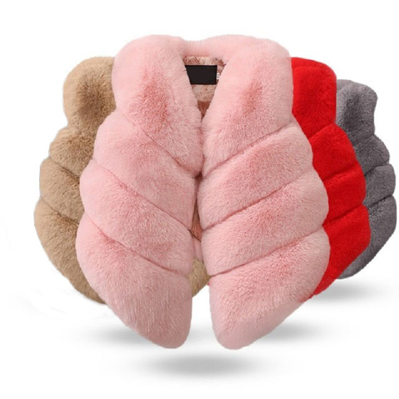 Girls Fur Outerwear 2019 Autumn & Winter Fashion Thick Warm Colorful Waistcoat Kids Outerwear Baby Girl Christmas Clothes