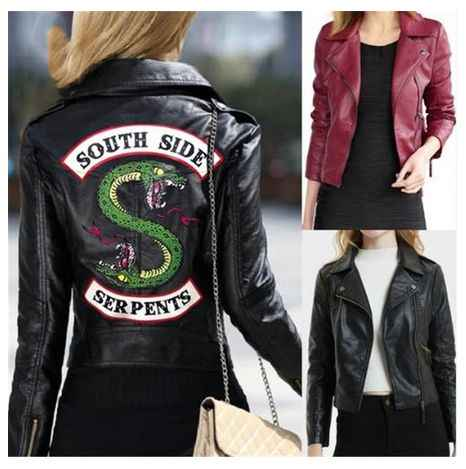 2019 New Spring Riverdale jackets Women Riverdale Southside Serpent Zipper PU Jacket Girls Coats Slim fit Jacket Outwear Clothes