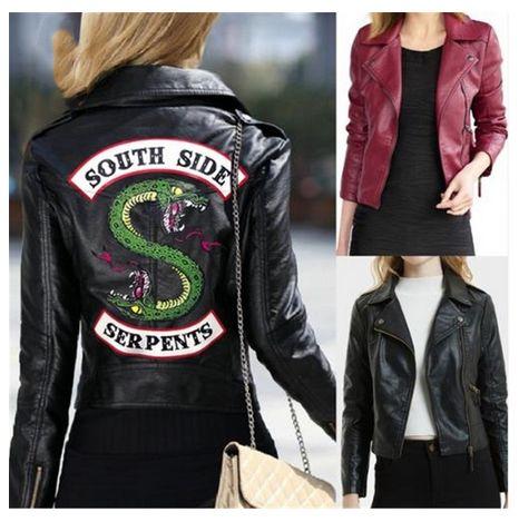 2019 New Spring Riverdale jackets Women Riverdale Southside Serpent Zipper PU Jacket Girls Coats Slim fit Jacket Outwear Clothes