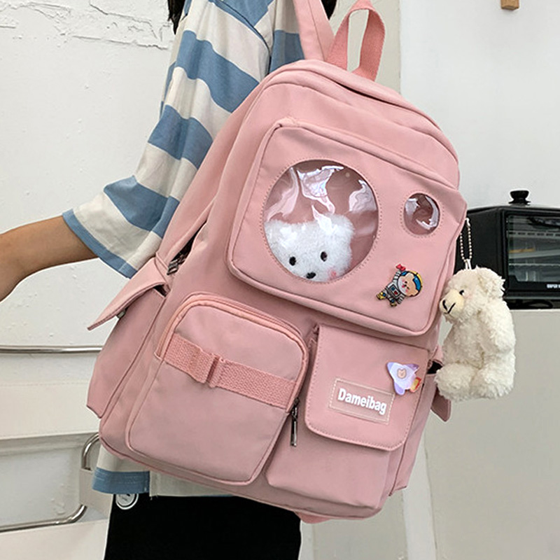 EnoPella Travel Mochila Kawaii Waterproof Women Backpack Girls School Bag Fashion Female College Bookbag Black Nylon Rucksack