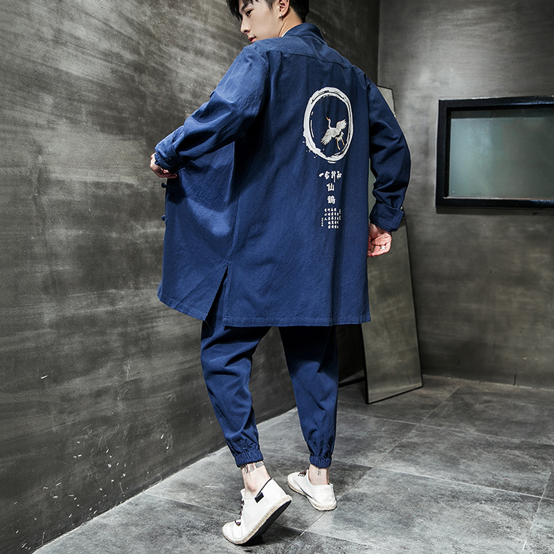 19 Chinese Wind And Autumn Large Size Men's Clothing Crane Printing Plate Buckle Cotton And Hemp Loose Leisure Jacket Long
