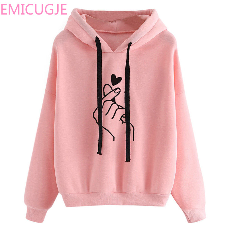 Heart Finger Hood Casual Hoodies for Harajuku Women's Sweatshirt and Hoody Ladies Oversize <font><b>K</b></font> <font><b>Pop</b></font> Yellow Pink Love image