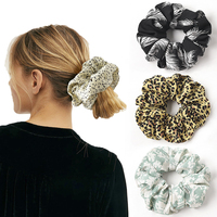 Ins Oversized Scrunchies Hair Ties Elastic Hair Bands Floral Ponytail Holder Spot Leopard Big Scrunchie Women Hair Accessories