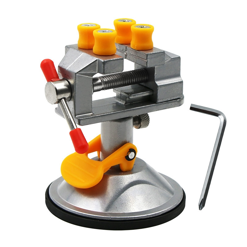 Table Vise Bench Vise Fixed Frame Sucker Clamp Adjustable Rotatable Aluminum Alloy Bench Screw For DIY Craft Mold Fixed Repair T