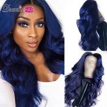 Темно-синий цвет Омбре бразильские 13x6 глубокая часть тела волна кружева фронта человеческих волос парики с волосами младенца для черной женщины
