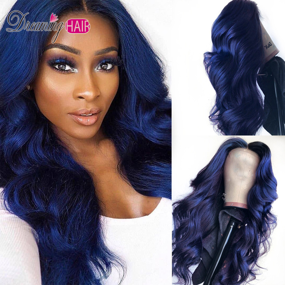 Dark Blue Color Ombre Brazilian 13x6 Deep Part  Body Wave Lace Front Human Hair Wigs With Baby Hair For Black Woman