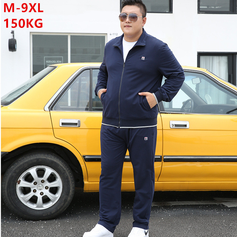 Tracksuit Men Set Autumn 2019 Clothes Plus Size 6XL 7XL 8XL 9XL Jacket Sport Sportswear Straight Pants Mens 2 Piece Track Suit