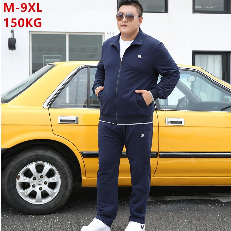 Tracksuit Men Set Autumn 2020 Clothes Plus Size 6XL 7XL 8XL 9XL Jacket Sport Sportswear Straight Pants Mens 2 Piece Track Suit