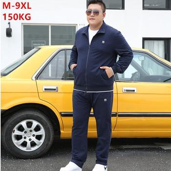 Tracksuit Men Set Autumn 2020 Clothes Plus Size 6XL 7XL 8XL 9XL Jacket Sport Sportswear Straight Pants Mens 2 Piece Track Suit - discount item  25% OFF Men's Sets