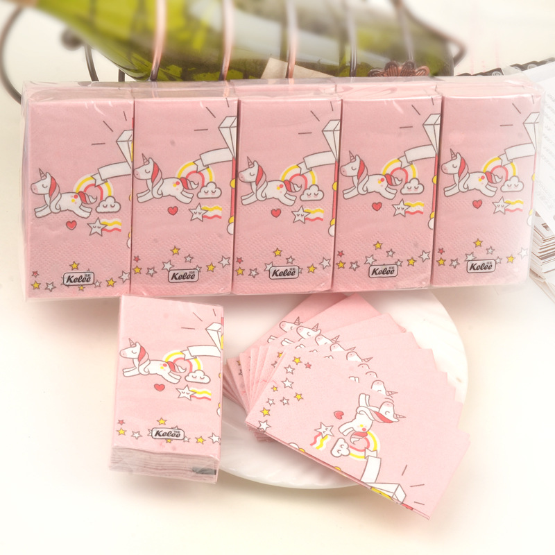Unicorn Handkerchief Paper Pink Napkin Mini Bag Paper Carriable Toilet Paper Restaurant Catering Paper A Generation Of Fat