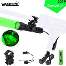 501B светодиодный тактический охотничий фонарик для оружия, красный, зеленый, белый, винтовочный пистолет, светильник+ переключатель давления+ 20 мм рельсовое крепление+ 18650+ зарядное устройство