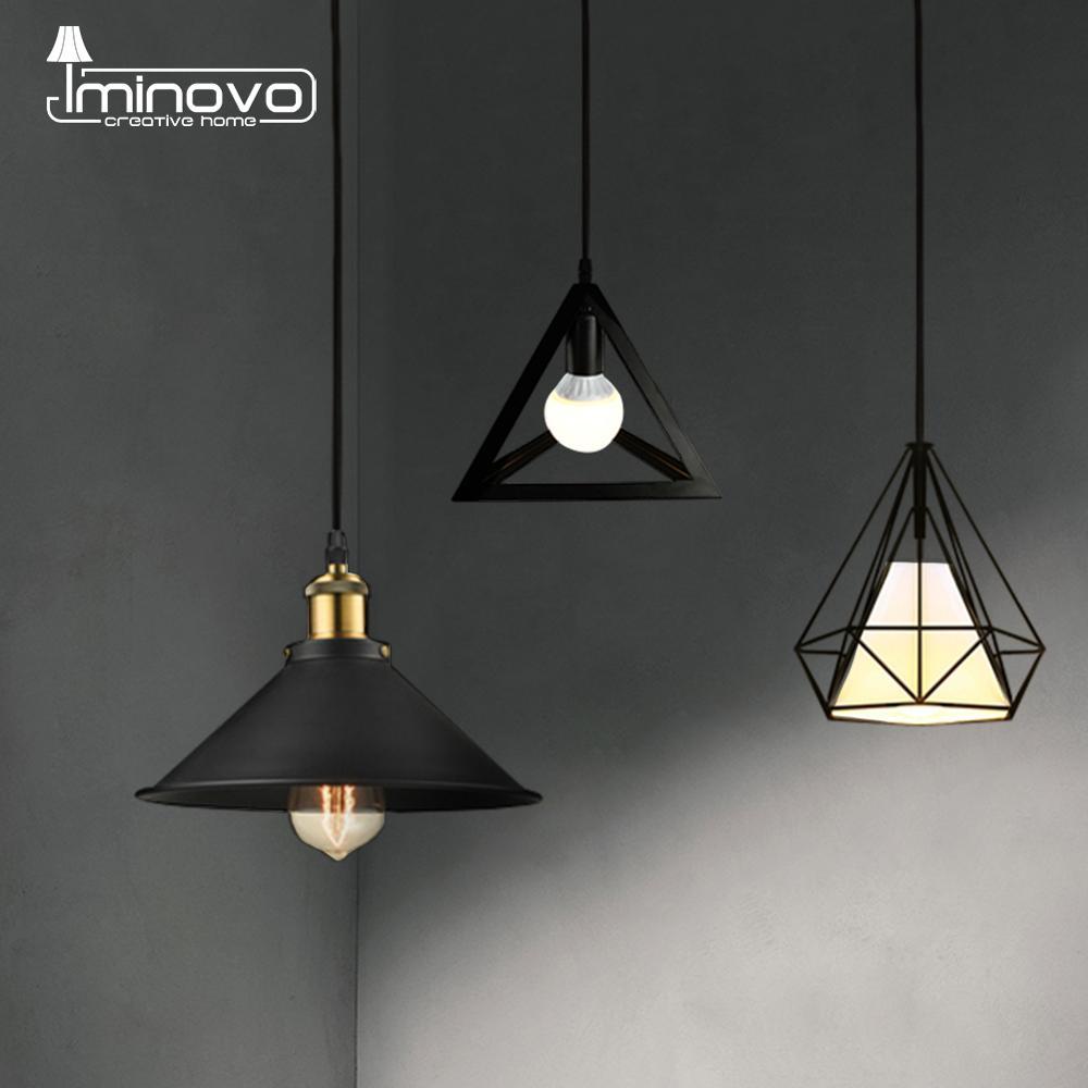 Modern Pendant Light Black Iron Hanging Cage Vintage LED Lamp Bulb E27 Industrial Loft Retro Dining Room Restaurant Bar Counte