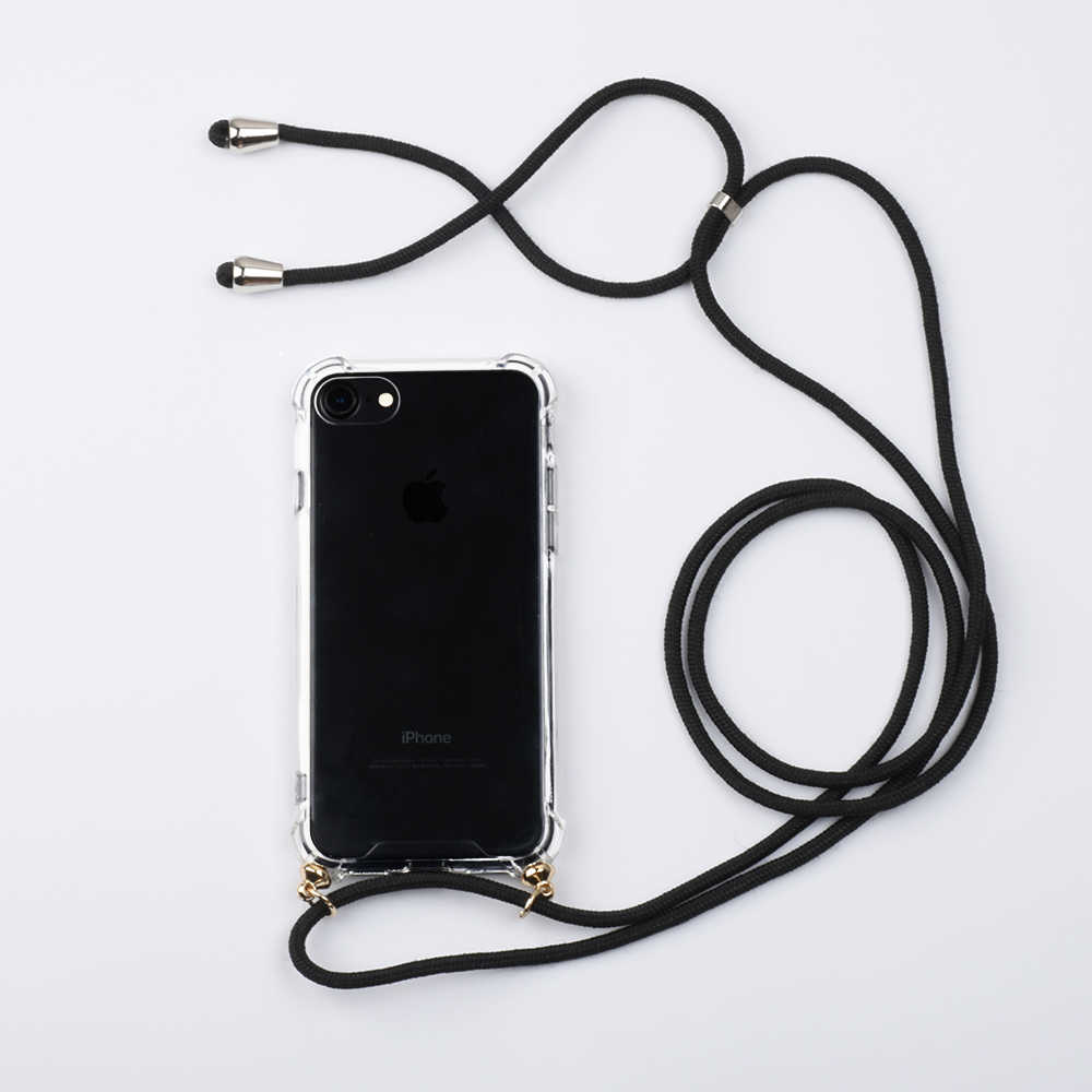 Selempang Kalung Tali Lanyard Tali untuk iPhone X Max X 7 8 6 6S Plus X XR pelindung Ponsel Case Bening Penutup Belakang
