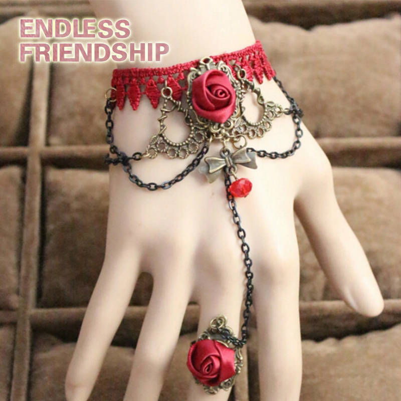 Woman 39 s Lace Bracelets Vintage Gothic Lace Bracelets DIY Bride Handmade Bracelets Wedding Accessories QCB0118 in Chain amp Link Bracelets from Jewelry amp Accessories