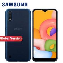 Küresel sürüm Samsung Galaxy A01 A015F-DS cep telefonu çift SIM 2GB RAM 16GB ROM 5.7 inç 13MP FM radyo 3000mAh 4G Smartphone