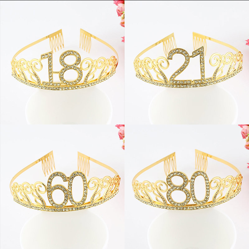 Happy 10th 13th 16th Birthday Party Decorations Supplies For Girl Sweet 21 30 35 Birthday Party Tiara Rhinestone Crown Headband
