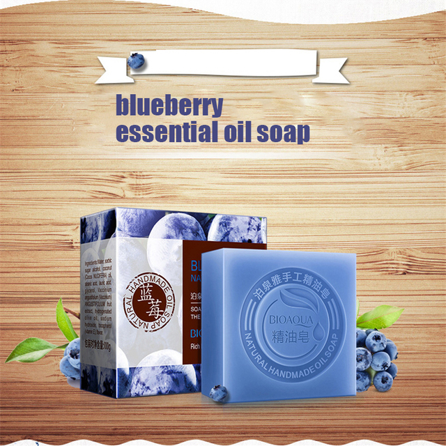 Blueberry Essential Oil Handmade Soap Acne Removal Blackhead Skin Whitening Deep Cleansing Face Wash Hair Care Bath Shower Soap 4