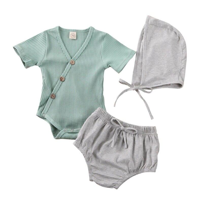 Newborn Baby Girl Romper Jumpsuit Tops Shorts Pants Outfits Clothes 3PCS Sets