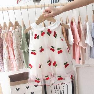 Детское милое летнее платье для девочек 2020, детское пышное платье принцессы с вышивкой вишни